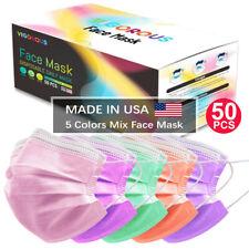 Hecho en EE. UU. 50 PC Protector de Nariz & Boca Máscara Facial máscaras antigás 5 Colores