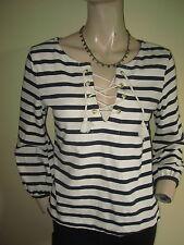 Zara ~ Navy Blue & Ivory Striped 3/4  Sleeve Lace Up Neck Top ~ Size M 10 - 12