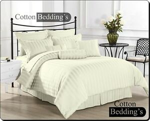 800 TC Egyptian Cotton US Size Duvet Set/Flat/Fitted/Pillow in All Striped Color