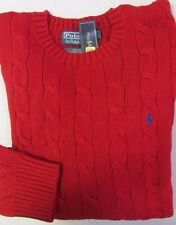 NWT Polo Ralph Lauren Pony Logo Cable Sweater Red Sizes L XL