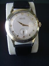 VINTAGE GRUEN PRECISION USX LARGE RETRO WATCH 17J-GOLDP-SWISS-CLEAN-RUNNING