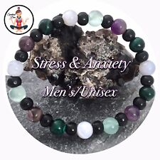 Stress Anxiety Relief Mens Unisex Healing Crystal Reiki Bracelet Amethyst Agate