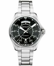 Hamilton Khaki Aviation Men's Black Watch with Silver Stainless Steel Band - H64615135