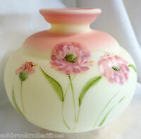 Fenton Art Glass Hand Painted Floral Pink Burmese Vase MIB New V779BU
