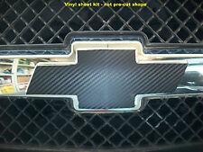 Carbon Fiber 3D (2) Vinyl Sheets Wrap Chevy Bowtie Emblem Overlay Decals 19