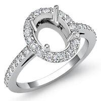 Diamond Engagement Filigree Ring Oval Semi Mount 14k W Gold Halo Pave Set 0.45Ct