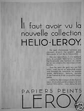 PUBLICITÉ LE PAPIER PEINT COLLECTION HÉLIO - LEROY A L'ART DE LA DÉCORATION
