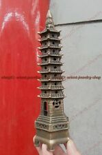 china folk collection! copper Vintage peace Pagoda /pagod Statue Tower 9-Tier