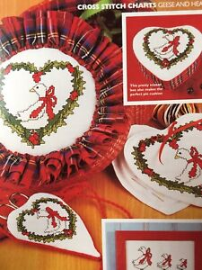Christmas Geese & Hearts Cross Stitch Charts And Cotton Chart