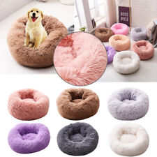 Pet Dog Cat Kennel Calming Bed Round Nest Warm Soft Plush Comfortable Sleeping