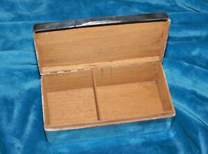 Large Sterling Silver Wood Lined Desktop Cigarette or Cigar Box, Birmingham 1940