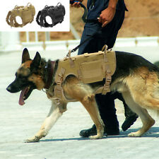 Military Tactical K9 Dogs Harness No Pull MOLLE Training Vest & Pouches & Handle