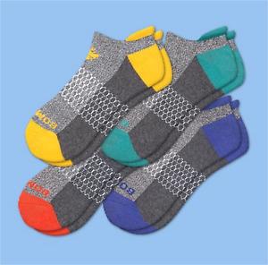 BOMBAS Men ORIGINALS Ankle Socks 4 Pack Large Rust/Teal/Yellow/Blue