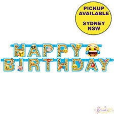 EMOJI EMOTICONS PARTY SUPPLIES JOINTED HAPPY BIRTHDAY BANNER DECORATIONS