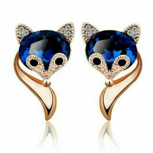 ENGAGEMENT WEDDING FOX FACE STUD EARRINGS 14K ROSE GOLD FILLED 3.39 CT SAPPHIRE