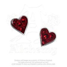 Alchemy of England Hearts Blood Swarovski Crystal Enamel Earrings