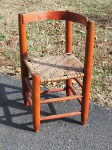 PRIMITIVE COUNTRY YOUTH SIZE LADDER BACK CORNER CHAIR - AMERICANA