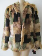 $249 ADRIENNE LANDAU MULTI-COLOR LONG SLEEVE FAUX FUR COAT SIZE 3 X - NWT