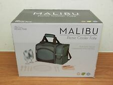 Picnic Time Malibu Insulated Cooler Picnic Beach Bag Basket Tote Service for 2