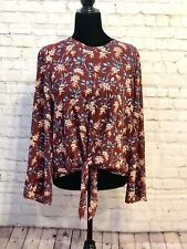 NWOT Madewell Bell-Sleeve Tie Top in Antique Flora Size L