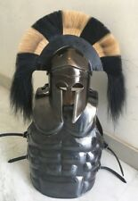ROMAN MUSCLE ARMOUR JACKET MEDEIVAL BLACK FINISH WITH CORINTHIAN HELMET REPLICA