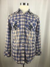 Wrangler  Snap Button Up Blue And White Plaid B7