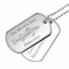 Personalised The World's Best Fisherman Army Dog Tags Anglers Fishing Dad Gifts