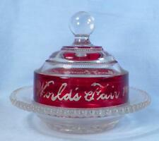 Heisey Punty Band Toy Butter Dish Worlds Fair 1904 Ruby Stain EAPG Antique Glass