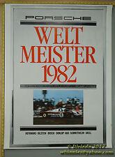 1982 WORLDCHAMPION Wesltmeister Porsche Genuine Factory Poster Original