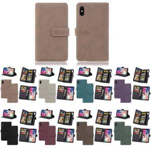 10pcs/lot Retro Matte 9-Cards Holder Flip PU Leather Case For iPhone Samsung LG