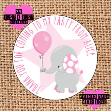 Personalised pink elephant 24 party bag stickers sweet cone labels thank you epb