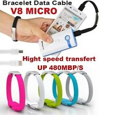 BRACELET NOIR CABLE V8 MICRO CHARGEUR DATA 22CM SAMSUNG HTC NOKIA SONY ANDROID
