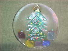 Vintage Christmas Decoration GLASS CHRISTMAS TREE PLATE. 5 1/2 INCH ACROSS