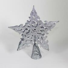 Premier Christmas Decoration 200mm Filigree Glitter Tree Top Star - SILVER
