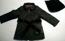 Girls DKNY Black Embroidered Hooded Fur Trim Coat Age 8 Yesrs