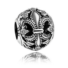 authentic S925 sterling silver Fleur De Lis Clear CZ European Charm fit bracelet
