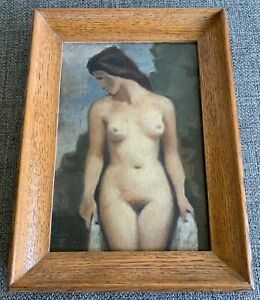OTTO FUCHS (1839-1906) FEMALE NUDE OIL PAINTING ON CARDBOARD/ SIGNED, 19TH C.