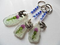 Scottish thistle hand painted sea glass bag charm- Scotland crafted gift keyring