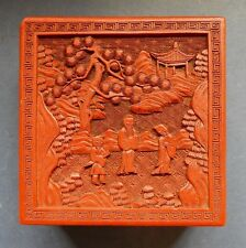 Chinese Carved Cinnebar Lacquer Box - 19Th Century