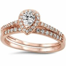 Halo Teardrop Wedding Ring Band Bridal Set Pear Round CZ 925 Sterling Silver