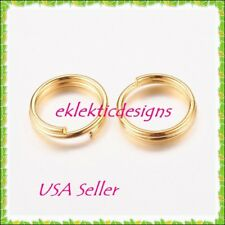8mm 50pcs Gold Plated Split Dbl Jump Rings Jewelry Findings Earrings Necklace