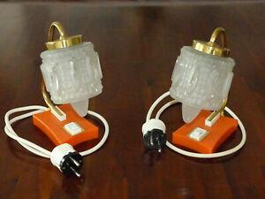 DDR 2 Stück Lampen Tischlampen Nachttischlampen Orange/Gold Vintage