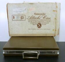 New Open Box Vintage Samsonite Attache Deep Olive #99703 Brief Case and Key