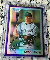 RUSSELL WILSON 2010 Bowman CHROME PURPLE SP Rookie Card RC HOT Superbowl Ring $
