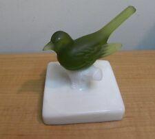 "Olive Green Westomoreland Glass Bird On White Glass Base 4"" Tall"
