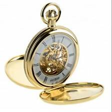 Jean Pierre Gold Plated Double Hunter Full Skeleton Pocket Watch, ref G256PM