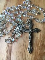 ✞ Vintage Rosary Iridescent Clear Glass Beads Art Deco Italy ✞  FREE SHIPPING