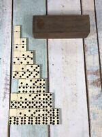 Vintage Bovine Bone & Ebony Dominoes, With Original Wooden Box