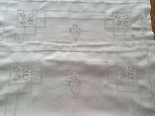 Paire de taies d'oreiller anciennes brodées en fil jour monogramme JB - 899