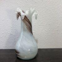 "Stunning Fenton Hand-Blown Art Glass Vase White & Burgundy with Ruffle Lip 8.5"""